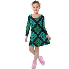 Vintage Paper Kraft Pattern Kids  Long Sleeve Velvet Dress