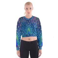 Amazing Peacock Women s Cropped Sweatshirt