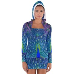 Amazing Peacock Women s Long Sleeve Hooded T-shirt