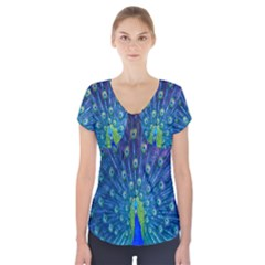 Amazing Peacock Short Sleeve Front Detail Top