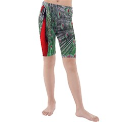 Red Peacock Kids  Mid Length Swim Shorts