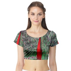 Red Peacock Short Sleeve Crop Top (Tight Fit)