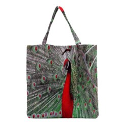 Red Peacock Grocery Tote Bag