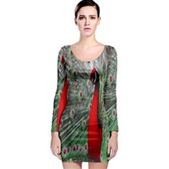 Red Peacock Long Sleeve Bodycon Dress
