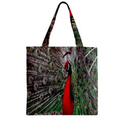 Red Peacock Zipper Grocery Tote Bag