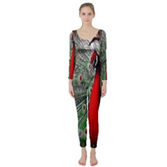 Red Peacock Long Sleeve Catsuit