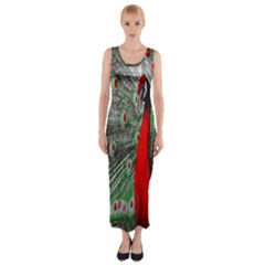 Red Peacock Fitted Maxi Dress