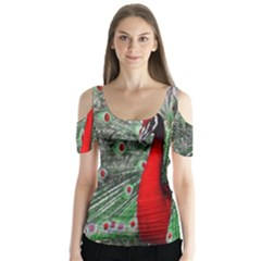 Red Peacock Butterfly Sleeve Cutout Tee