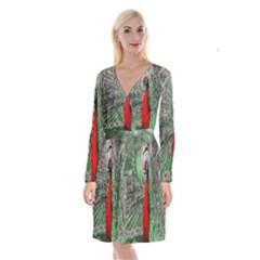 Red Peacock Long Sleeve Velvet Front Wrap Dress