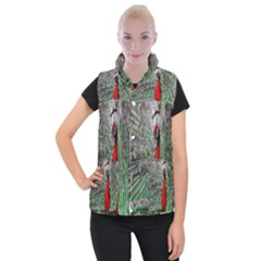 Red Peacock Women s Button Up Puffer Vest