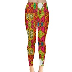 Abstract Background Design With Doodle Hearts Leggings