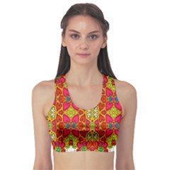Abstract Background Design With Doodle Hearts Sports Bra