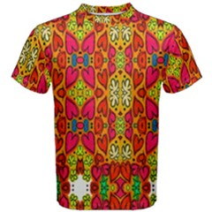 Abstract Background Design With Doodle Hearts Men s Cotton Tee