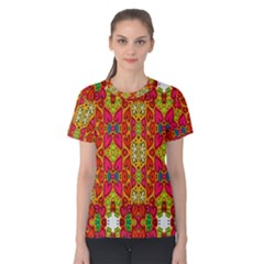 Abstract Background Design With Doodle Hearts Women s Cotton Tee