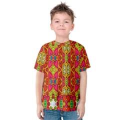 Abstract Background Design With Doodle Hearts Kids  Cotton Tee