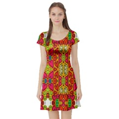 Abstract Background Design With Doodle Hearts Short Sleeve Skater Dress