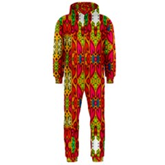 Abstract Background Design With Doodle Hearts Hooded Jumpsuit (Men)