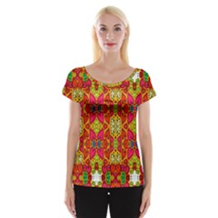 Abstract Background Design With Doodle Hearts Women s Cap Sleeve Top