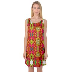 Abstract Background Design With Doodle Hearts Sleeveless Satin Nightdress