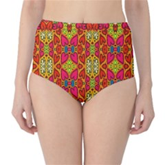 Abstract Background Design With Doodle Hearts High Waist Bikini Bottoms