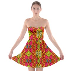 Abstract Background Design With Doodle Hearts Strapless Bra Top Dress