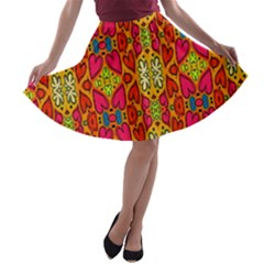 Abstract Background Design With Doodle Hearts A-line Skater Skirt