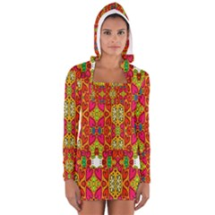 Abstract Background Design With Doodle Hearts Women s Long Sleeve Hooded T Shirt