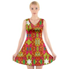 Abstract Background Design With Doodle Hearts V Neck Sleeveless Skater Dress