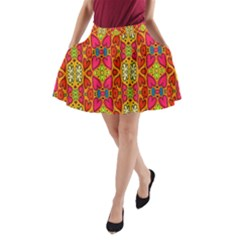 Abstract Background Design With Doodle Hearts A-Line Pocket Skirt