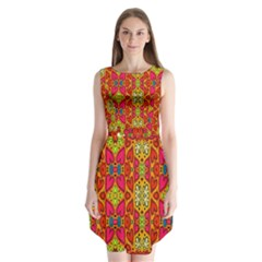Abstract Background Design With Doodle Hearts Sleeveless Chiffon Dress