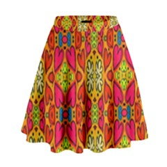 Abstract Background Design With Doodle Hearts High Waist Skirt