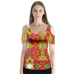 Abstract Background Design With Doodle Hearts Butterfly Sleeve Cutout Tee