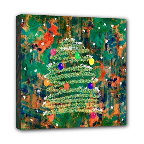 Watercolour Christmas Tree Painting Mini Canvas 8  X 8