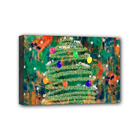 Watercolour Christmas Tree Painting Mini Canvas 6  X 4