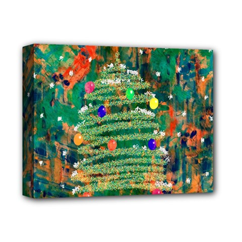 Watercolour Christmas Tree Painting Deluxe Canvas 14  x 11