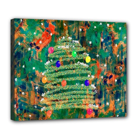 Watercolour Christmas Tree Painting Deluxe Canvas 24  x 20