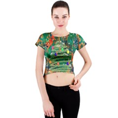 Watercolour Christmas Tree Painting Crew Neck Crop Top