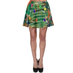 Watercolour Christmas Tree Painting Skater Skirt