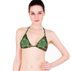 Watercolour Christmas Tree Painting Bikini Top