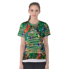 Watercolour Christmas Tree Painting Women s Cotton Tee