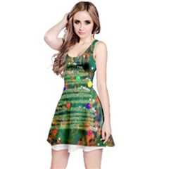 Watercolour Christmas Tree Painting Reversible Sleeveless Dress