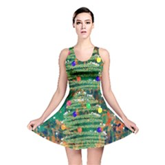 Watercolour Christmas Tree Painting Reversible Skater Dress
