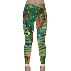 Watercolour Christmas Tree Painting Classic Yoga Leggings