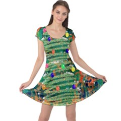 Watercolour Christmas Tree Painting Cap Sleeve Dresses