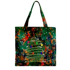 Watercolour Christmas Tree Painting Zipper Grocery Tote Bag