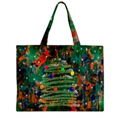 Watercolour Christmas Tree Painting Zipper Mini Tote Bag