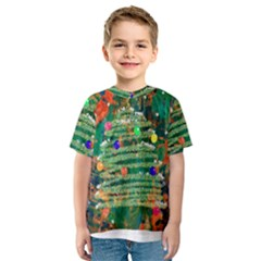 Watercolour Christmas Tree Painting Kids  Sport Mesh Tee