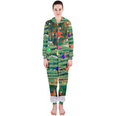 Watercolour Christmas Tree Painting Hooded Jumpsuit (Ladies)