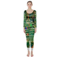 Watercolour Christmas Tree Painting Long Sleeve Catsuit