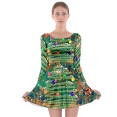 Watercolour Christmas Tree Painting Long Sleeve Skater Dress